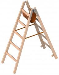 Layher 1053 Holzstehleiter nach Ö-Norm Z1501 2x5 Sprossen