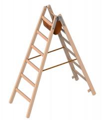 Layher 1059 Holzstehleiter 2x6 Breitsprossen
