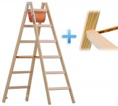 Layher 1059 Holzstehleiter mit Breitsprossen