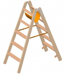 Layher 1020 Holzstehleiter mit 2x5 Stufen