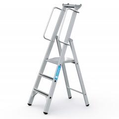 Zarges gebördelte Stehleiter Meistertritt S mit großer Plattform und Ablage 3 Stufen