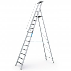 Zarges gebördelte Stehleiter Meistertritt S mit großer Plattform und Ablage 12 Stufen