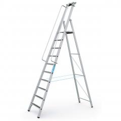 Zarges gebördelte Stehleiter Meistertritt S mit großer Plattform und Ablage 10 Stufen