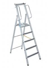 Zarges gebördelte Stehleiter Meistertritt S mit großer Plattform und Ablage 5 Stufen