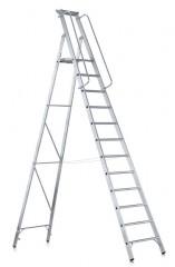 Zarges gebördelte Stehleiter Meistertritt S mit großer Plattform und Ablage