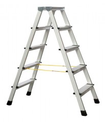 Zarges genietete Stehleiter eloxiert XLstep B 2x5 Stufen