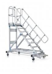 Zarges Plattformtreppe fahrbar, mit Ergo-Stop, Neigung 60°