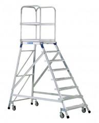 Zarges Podestleiter fahrbar mit 8 Leichtmetall-Stufen