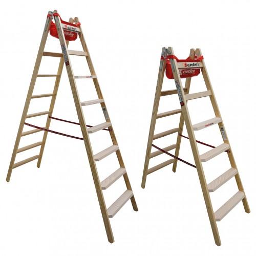 Euroline Holz Stufenstehleiter mit Comfort-Stufen mit Werkzeugablage