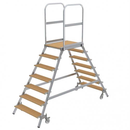 Günzburger Podestleiter fahrbar Holz 2x8 Stufen