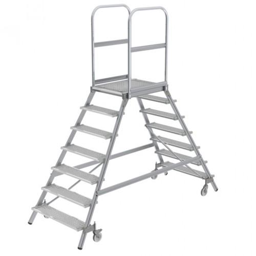 Günzburger Podestleiter fahrbar Stahl-Gitterrost 2x7 Stufen