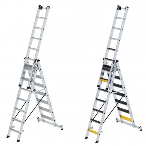 Günzburger Stufen- Mehrzweckleiter 3-teilig mit nivello-traverse