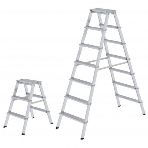 2 x 3 Stufen G/ünzburger Steigtechnik Stufen-Stehleiter Alu-Leiter Alu-Stufenstehleiter Bockleiter Leiter Stehleiter Stufenleiter Standard-Ausf/ührung beidseitig