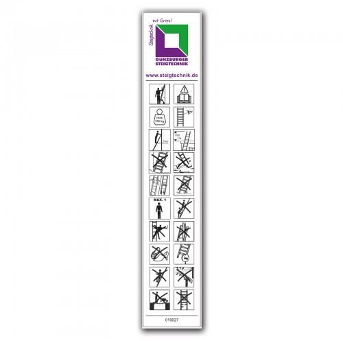 Günzburger Produktaufkleber Tritte/ Podeste ohne Haltevorrichtung/ Handlauf