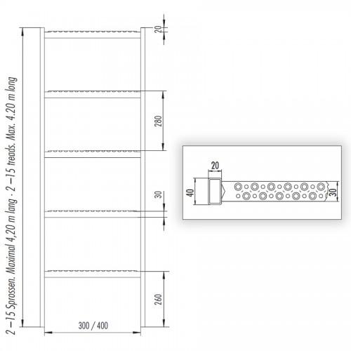 Hailo Schachtleiter 300mm lichte Weite Edelstahl 1.4301 / ASTM 304 mit 6 Sprossen 1,68m
