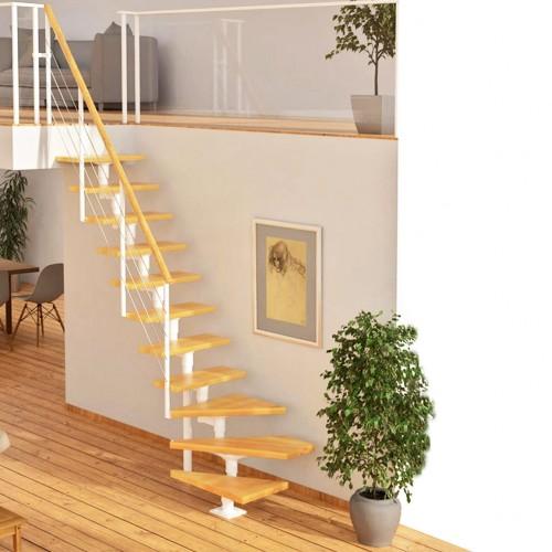 Dolle Mittelholmtreppe Boston 228-300cm Geschosshöhe in Buche oder Eiche