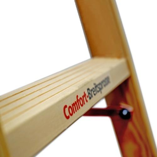 Euroline Holz Sprossenstehleiter mit Comfort-Breitsprossen und Eimerhaken
