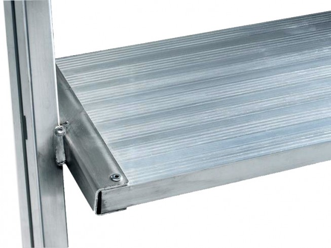 Günzburger Podestleiter fahrbar Aluminium geriffelt 2x7 Stufen