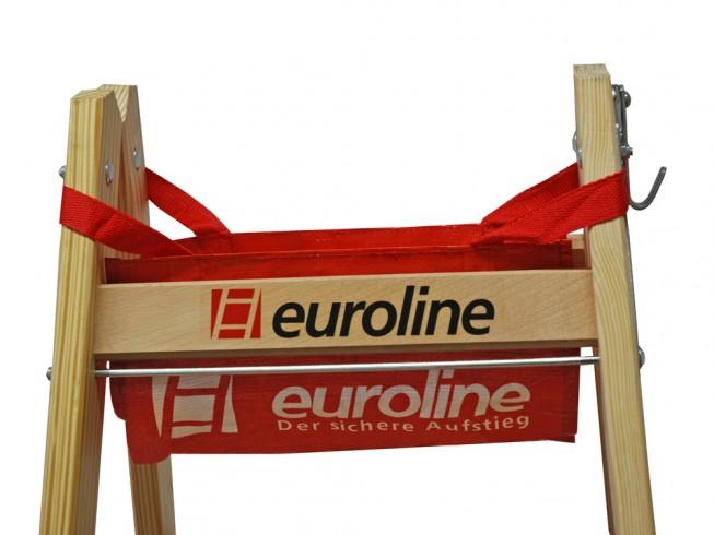 Euroline Holz Sprossenstehleiter mit Comfort-Breitsprossen und Eimerhaken 2x5 Sprossen