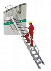 Günzburger Treppe mit Plattform 60° inkl. einen Handlauf, 800mm Stufenbreite, 16 Stufen